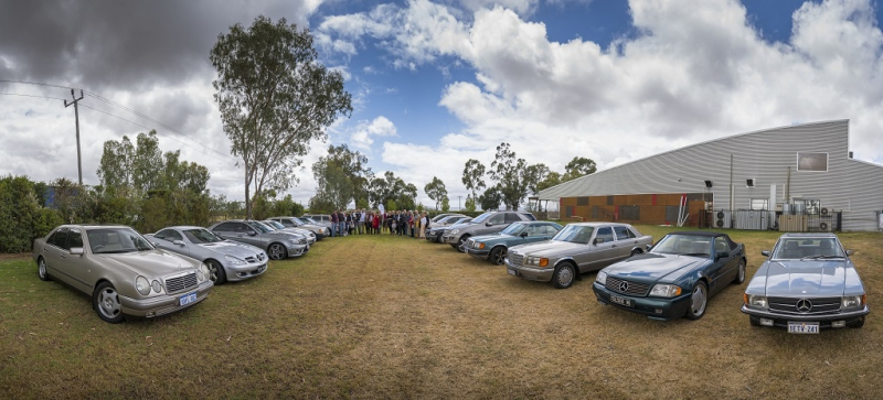 The cars and members gathered at the Margaret River Chocolate Factory