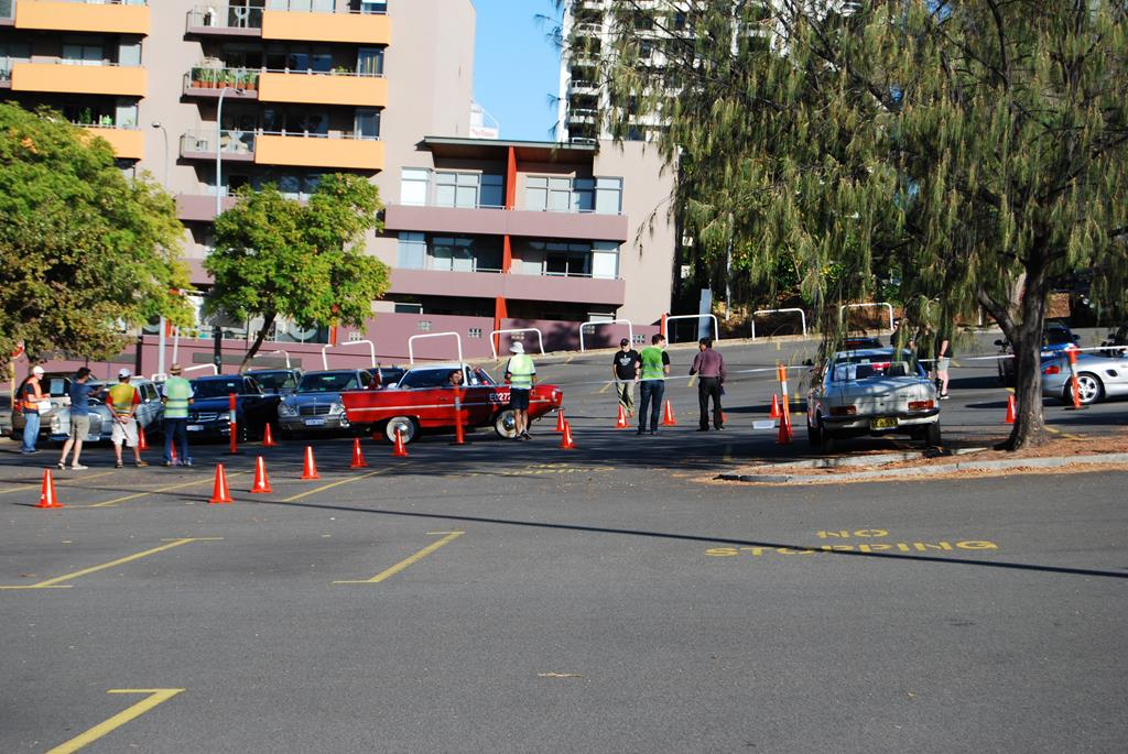 Cars arrive at the start in East Perth