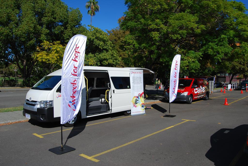 Wheels for Hope displayed one of their custom vehicles